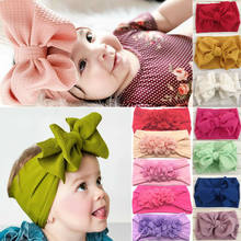 2019 New Cute Baby infant Girls Oversized Big Tie Bow Headband Wrap Turban Floral Hair Band Newborn Girls Solid Hair Accessories(China)