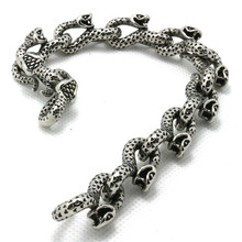 Mens Boys 316L Stainless Steel Cool Punk Gothic Snake Links New Silver Bracelet Factory Price
