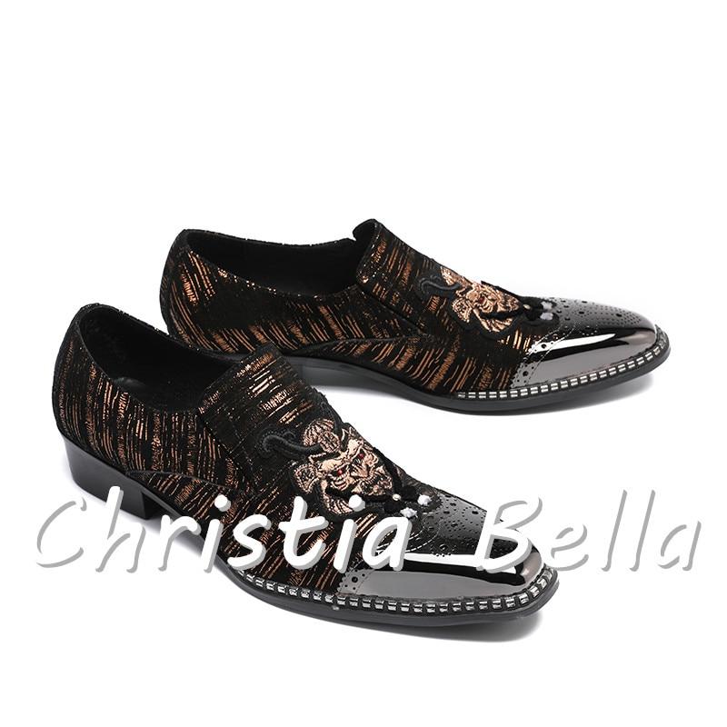 Mode Marron Hommes Zapatos En De Verni Broderie Mariage Daim Hombre Cuir Casual Patchwork Bella Mocassins Chaussures Christia qIat8xFqw