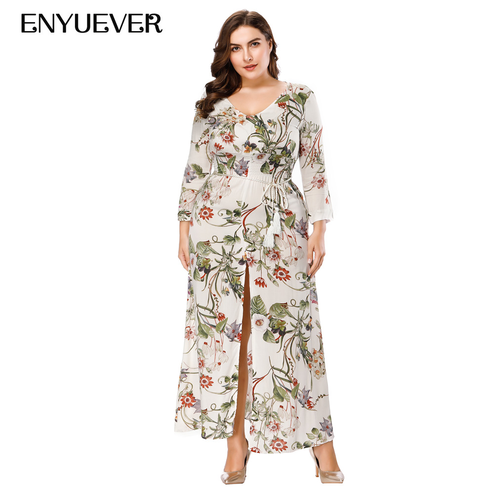US $30.13 30% OFF|Enyuever Plus Size Dresses For Women 4XL 5XL 6XL Slit 3/4  Sleeve Floral Print Casual Boho Maxi Long Beach Vestido Bohemian Dress-in  ...