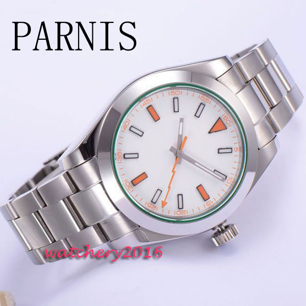 40mm Parnis white Dial polished case 2017 Newest Hot Mens watches Mechanical Stainless Steel Strap automatic movement Mens Watch браслет красная нить веточка
