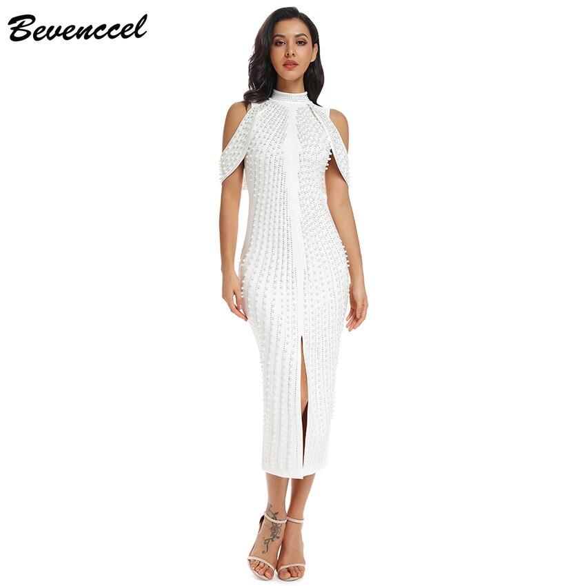Bevenccel Vestido 2019 femmes robe d'été sans manches hors épaule perles paillettes longue robe élégante célébrité soirée robe de soirée