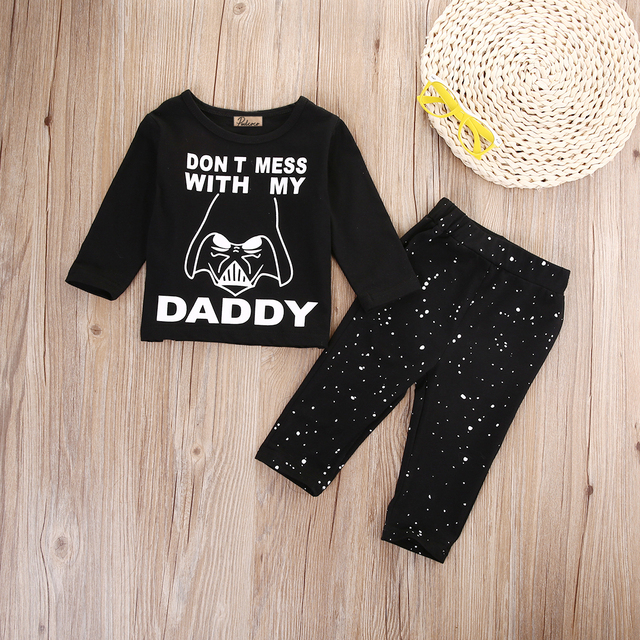 Pudcoco Newborn Baby Boys Girl Star Wars Clothes Tops T-shirt+Long Pants Outfit Set 2pcs 0-24M SS