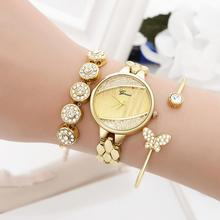 3Pcs/Set Round Dial Rhinestone Balls Analog Quartz Wrist Watch Open End Bracelet