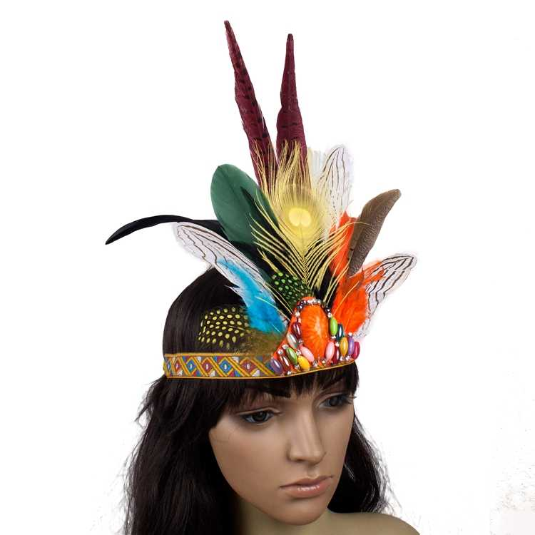 124701e49b8 Indian Style Headdress Lovely Feather Adult and Kids Headband Dress Prom  Dance Party Headwear Hair Jewelry