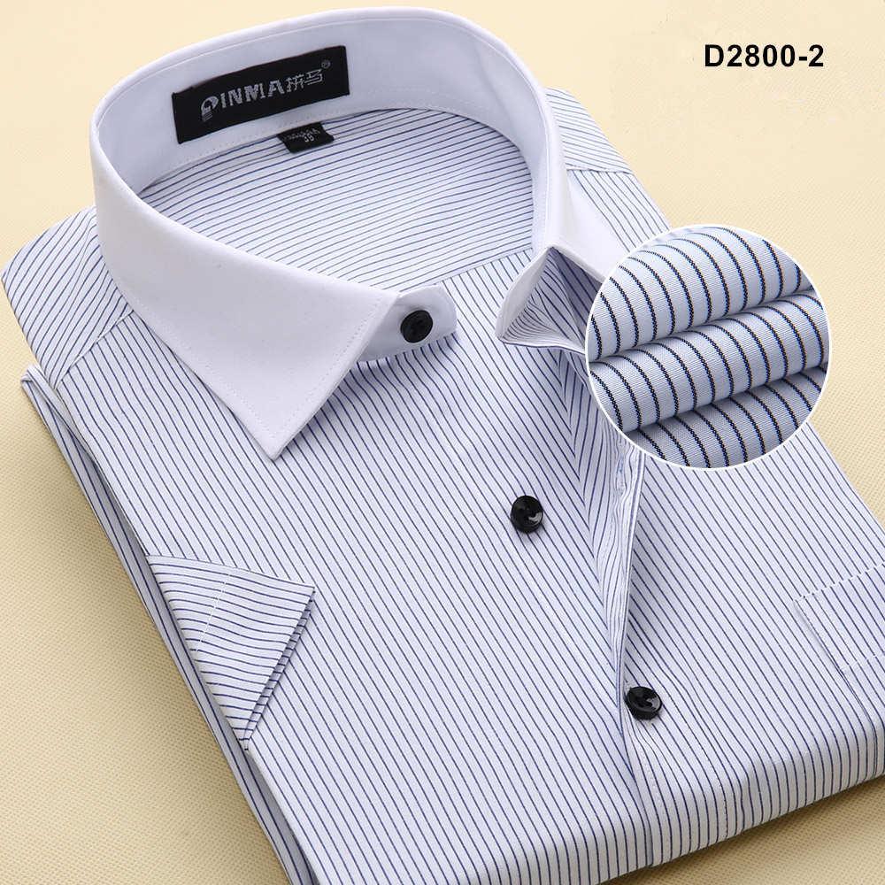 Брендовые мужские рубашки в полоску, Повседневная Деловая официальная рубашка высокого качества с коротким рукавом для мужчин размера плюс 5XL-8XL - Цвет: D28002