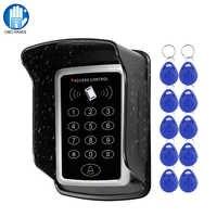 Teclado RFID Sistema de Control de Acceso de teclado cubierta impermeable al aire libre 10 piezas EM4100/TK4100 Keyfobs abridor de puerta para cerradura de hogar sistema de