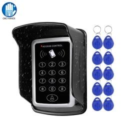 Teclado rfid teclado sistema de controle acesso à prova dwaterproof água capa ao ar livre 10 pces em4100/tk4100 keyfobs abridor de porta para casa sistema de bloqueio