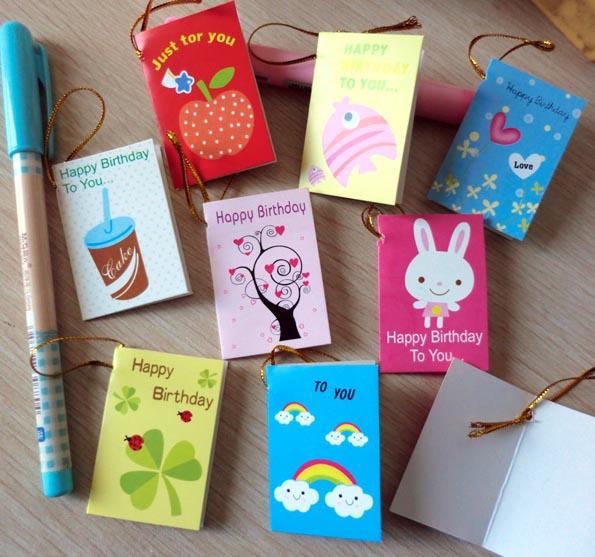 64pcs/lot Creative Cartoon Mini Small Greeting Cards For