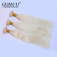Guanyuhair 613 Blonde Hair Bundles Brazilian Straight Hair Weave Remy 100% Human Hair Extensions 26 28 30 Inch Can Buy 1/3/4