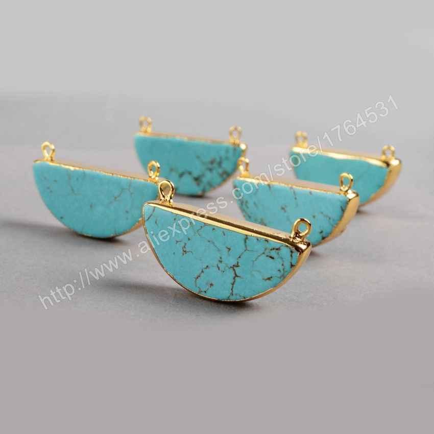 BOROSA Half Moon Blue Howlites Stone Connector Pendant Howlite Gold Bezel Pendant Druzy Jewelry DIY Necklace Gems G0382