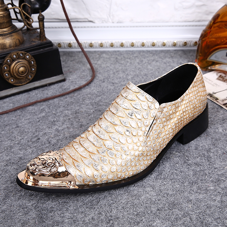 Men shoes luxury brand wedding genuine leather mens pointed toe dress shoes gold grey iron toe