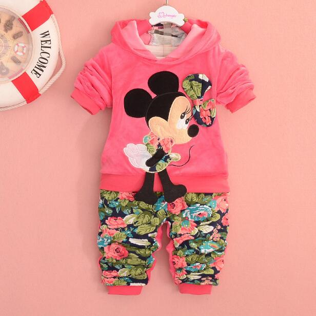 New Baby Girls Set baby girl christmas outfits Sport suit clothing set children hoodies pants kids minnie clothes sets Spring