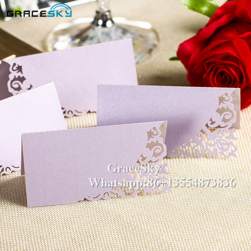 50pcs Lot Laser Cutting Lace Vine Design Table Name Place Seat Cards Paper Wedding Invitation For Party Decoration In Invitations From
