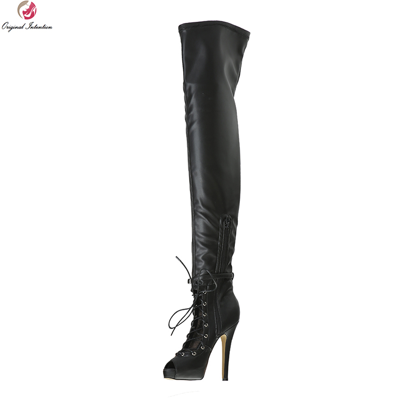 Original Intention Super Sexy Women Over-the-Knee Boots Thigh High Peep Toe Thin Heels Boots Black Shoes Woman Plus US Size 4-15 original intention high quality women knee high boots nice pointed toe thin heels boots popular black shoes woman us size 4 10 5
