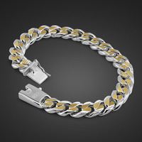 Fashion personality men gentleman 10MM 21cm bracelet 100% 925 sterling silver / Gold bracelet wholesale man silver jewelry