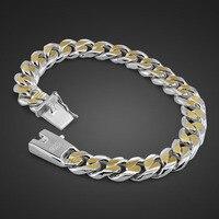Fashion personality men gentleman 10MM 21cm bracelet 100% 925 sterling silver / Gold bracelet wholesale man silver jewelry