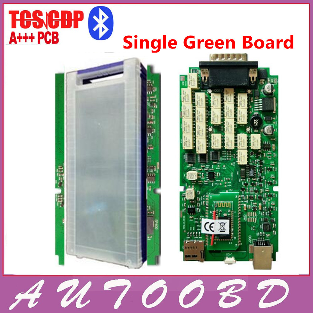 ФОТО Quality A++Single One Green Board TCS cdp pro with Bluetooth 2014.R2/2015.R3 optional software+ Plastic Suitcase for Cars Trucks