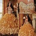 Decote lantejoulas e cristal até o chão Organza Corset encerramento 2014 ouro vestidos Quinceanera