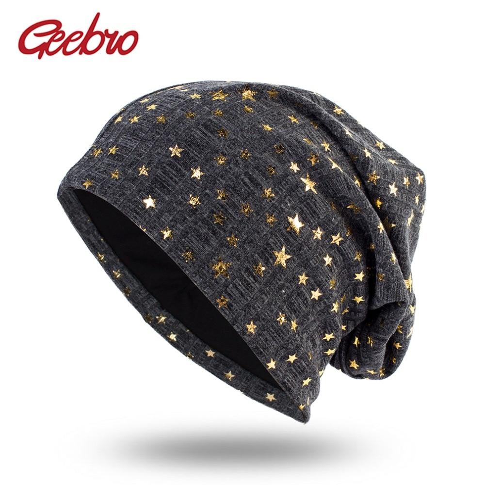 Geebro Women's Bronzing Star Beanies Hat Spring Cotton Slouchy Beanie for Women Ladies Comfortable Skullies Hats Bonnets Cap