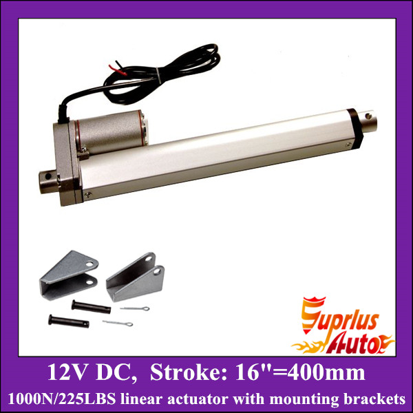 16inch/ 400mm stroke 12v linear actuator with mounting bracket, 1000N/100KGS load electric linear actuator free shipping 16inch 400mm 24v 12v linear actuatorr 1000n 100kgs 225lbs load linear actuators with mounting brackets