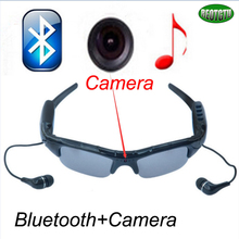 Free shipping Multi-function bluetooth Stereo music headsets +camera smart glasses 2 in 1 DV302