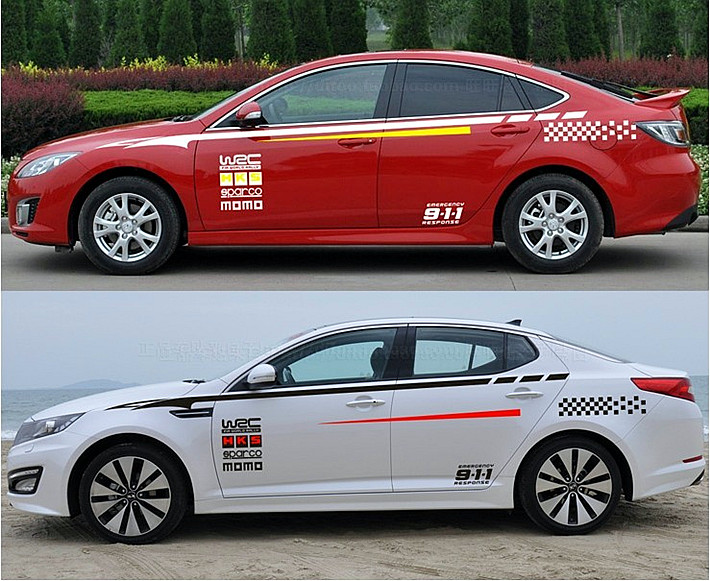 2015 new design 2pcs big size sports style wrc 9 1 1 car whole body sticker decoration for universal car vinyl graphic design in car stickers from