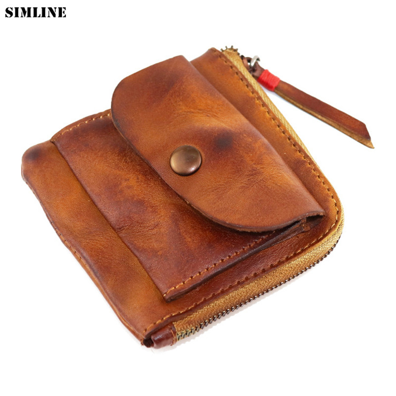 Vintage Handmade Genuine Leather Wallet Coin Purse Men Women Zipper Real Cowhide Short Small Slim Card Holder Case Female Male