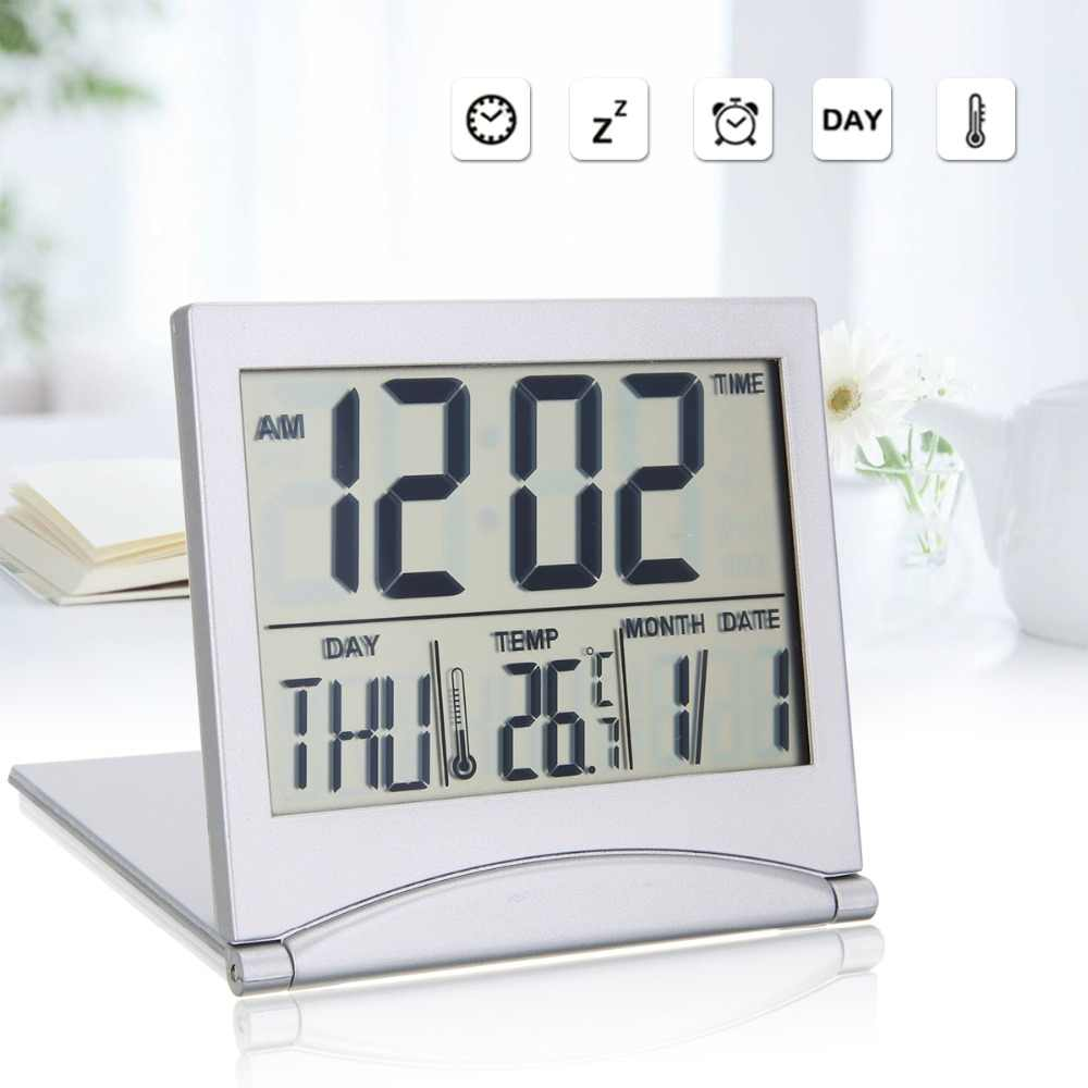 Folding LCD Digital Alarm Clock Desk Table Weather Station Desk Temperature Travel Ectronic Mini Clock