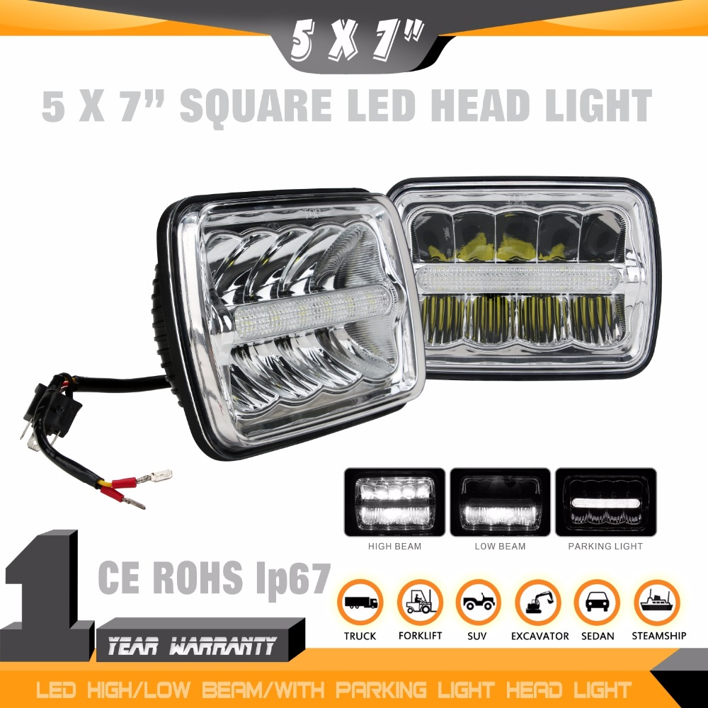 ФОТО 2PCS 5*7 inch Square LED Heanlight HI/LO Beam DRL Build-in for Wrangler,Truck