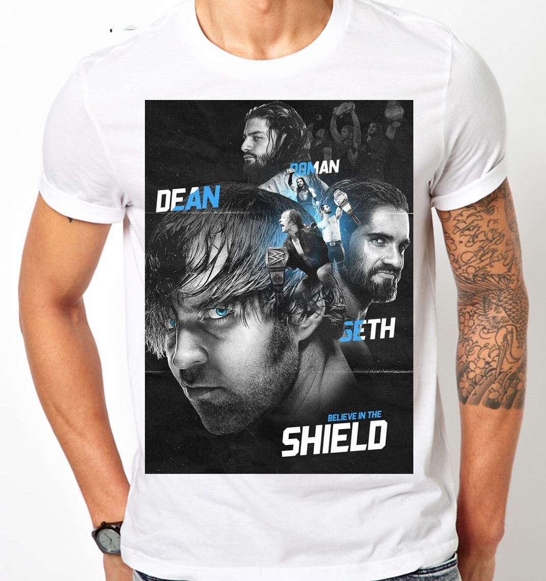 THE SHIELD REUNITED ROMAN REIGNS DEAN AMBROSE SETH ROLLINS MENS KIDS T Shirt 100% Cotton Short Sleeve O-Neck Tops Tee Shirts