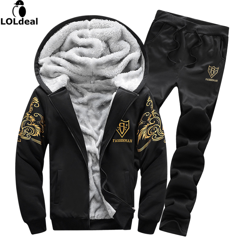 black friday Fleece Warm Sporting Men 2018 Hoodies Set Tracksuit Men Print Plus Size Hood Sweatshirt+Pant Male 2 Piece Set