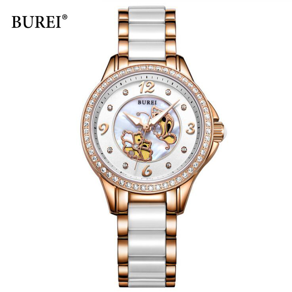 BUREI Luxury Crystal Sapphire Ladies Ceramic Band Quartz-Watch Women 30M Waterproof Wristwatches relogio feminino 2017 Hot Sale free shipping kezzi women s ladies watch k840 quartz analog ceramic dress wristwatches gifts bracelet casual waterproof relogio