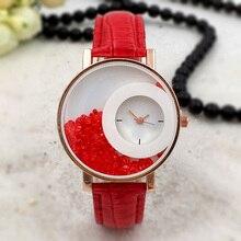 Fashion Women Quartz Watch Rhinestone Dial PU Leather Strap Wristwatch