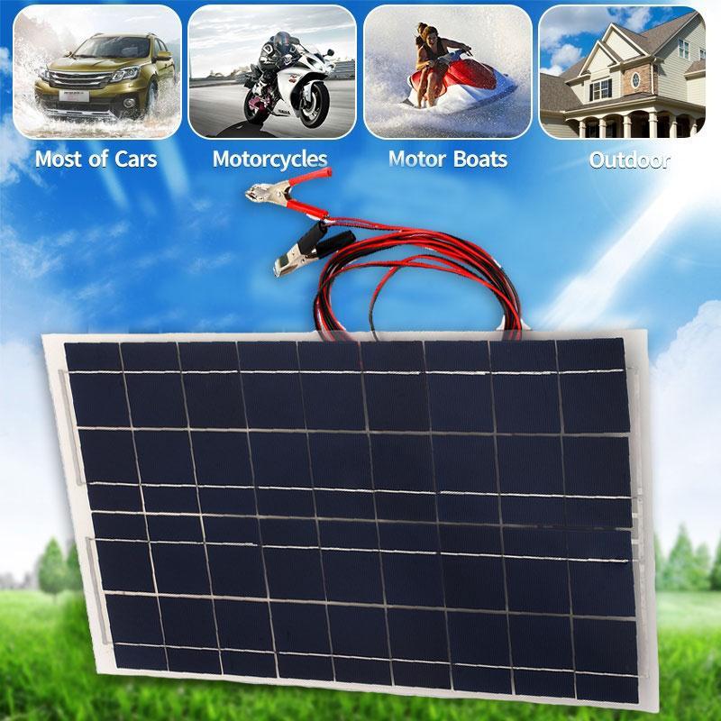 18V 30W Portable Solar Panel Car RV Battery Charger Universal W Alligator Clip