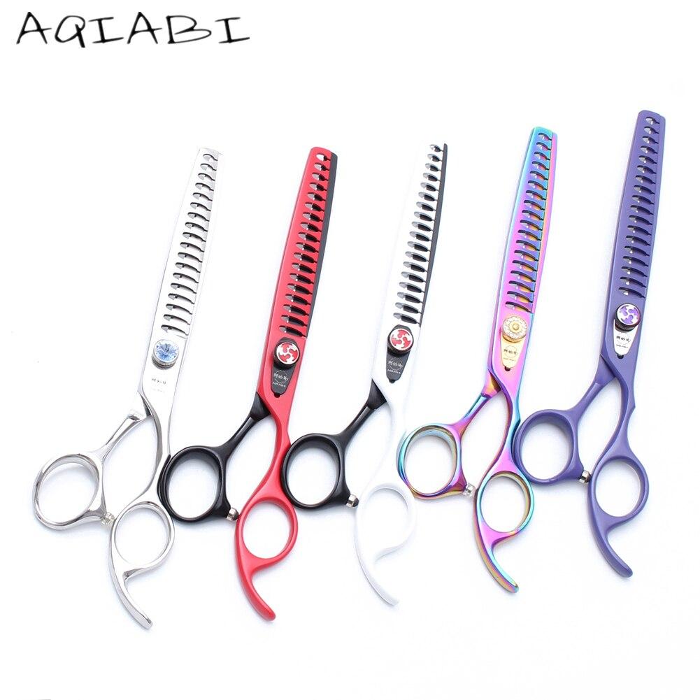 A4004 7.0'' 8.0'' AQIABI Professional Dogs Cats Pets Hair Shears Hairdressing Scissors 18/23 Teeth Fishbone Thinning Shears