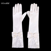 2018 High Quality Ivory Bridal Gloves For The Bride Operates Finger Bow Luva De Noiva Satin