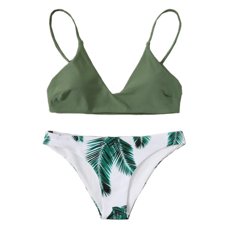 Plants Print Bottoms Bikini Set 16