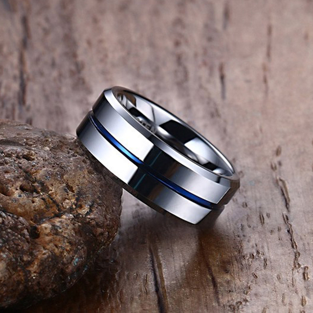 8mm Mens Rings Tungsten Carbide Thin Blue Line Groove Wedding Band Ring For Men Fashion Jewelry