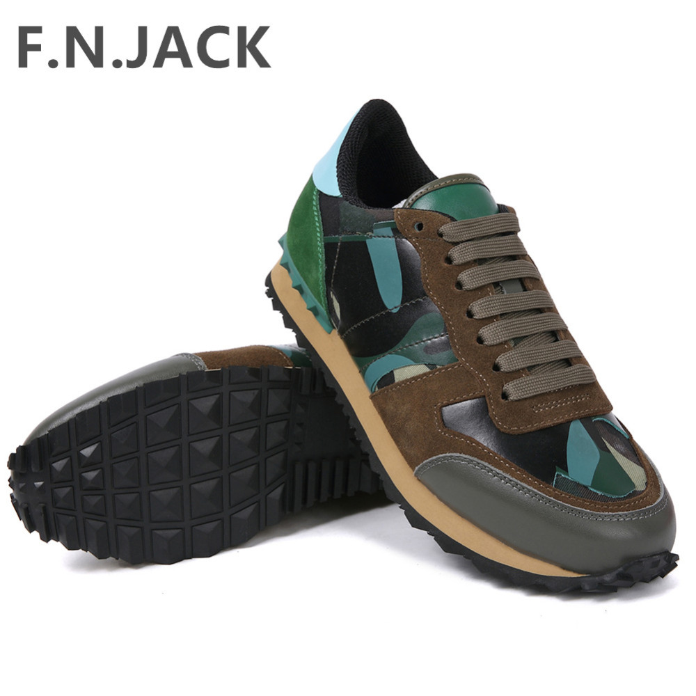 FNJACK Men Sneakers Camo Canvas Fashion Italian Shoes 2018 New Arrival High Quality Genuine Leather