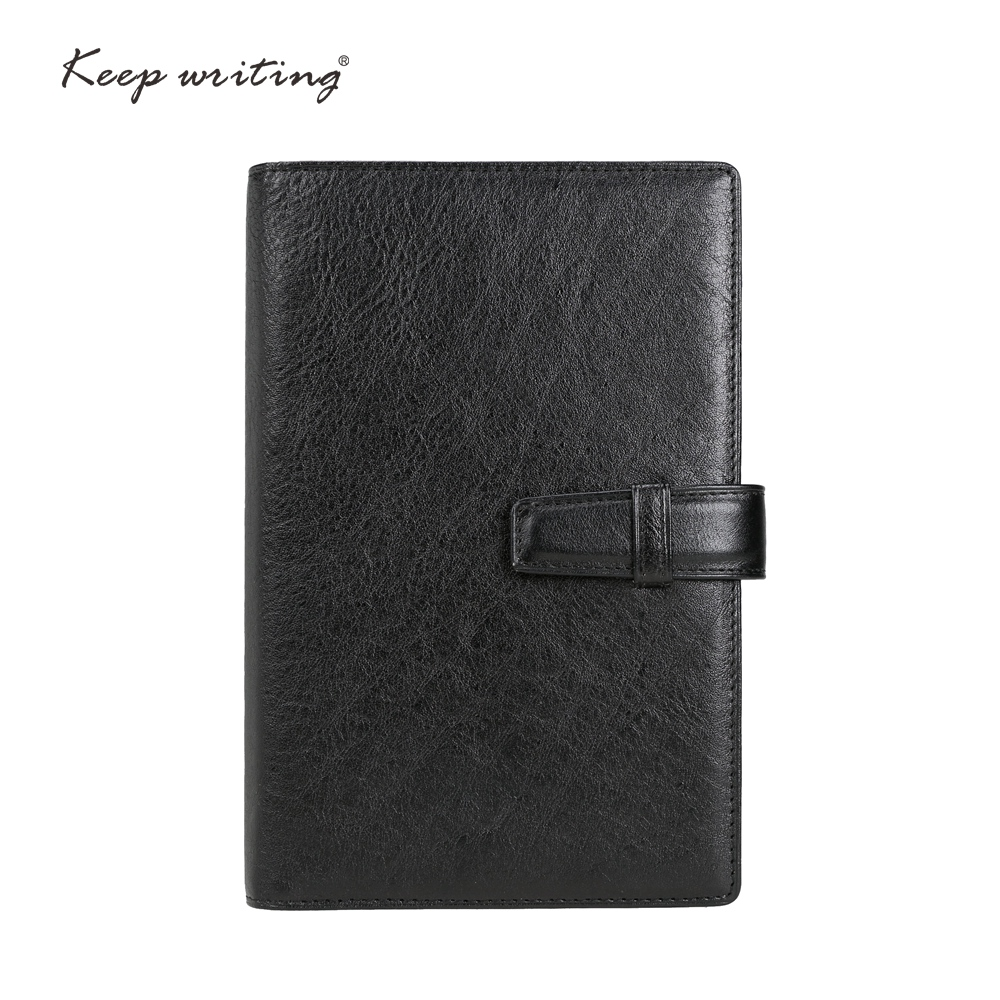 A6 Genuine leather notebook 45 sheets <font><b>100gsm</b></font> <font><b>paper</b></font> lined pages stationery small agenda Journal notes real leather durable image
