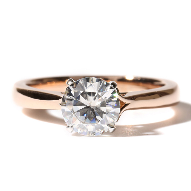 14K Gold 1CT Lab Grown Moissanite Diamond Solitaire Engagement Ring