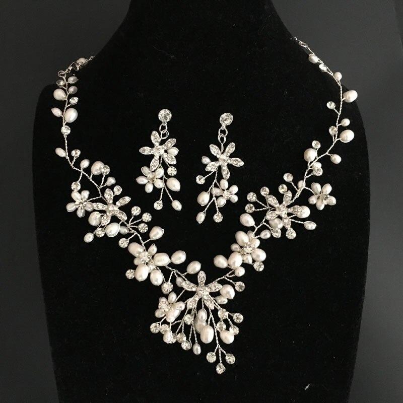8896c71f4a60 SLBRIDAL diamantes de imitación cristal austriaco perlas de agua dulce boda  conjunto de joyería nupcial collar pendiente conjunto de piezas de joyería  damas ...