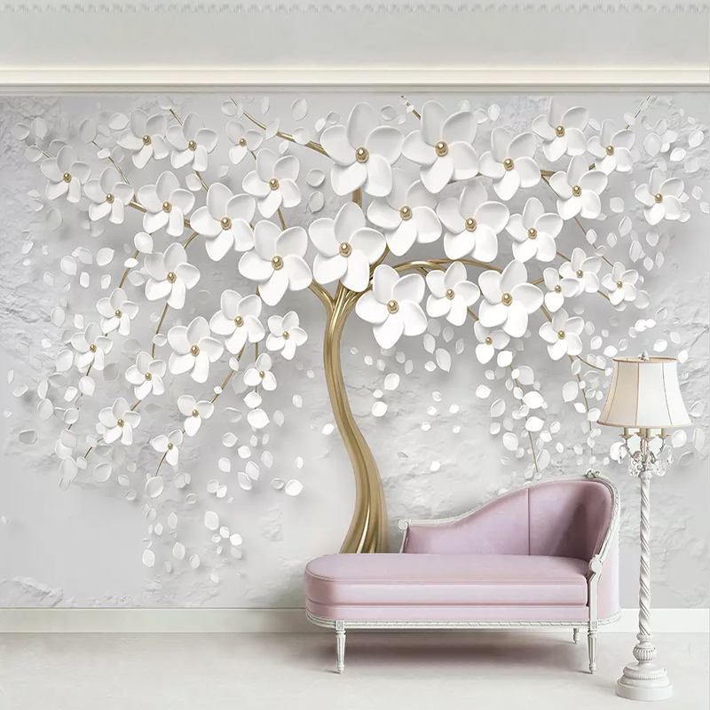 Custom 3D Photo Wallpaper Murals White Flowers Tree Living Room Sofa TV Bedroom Background Wall Home Decor Painting Mural Papel