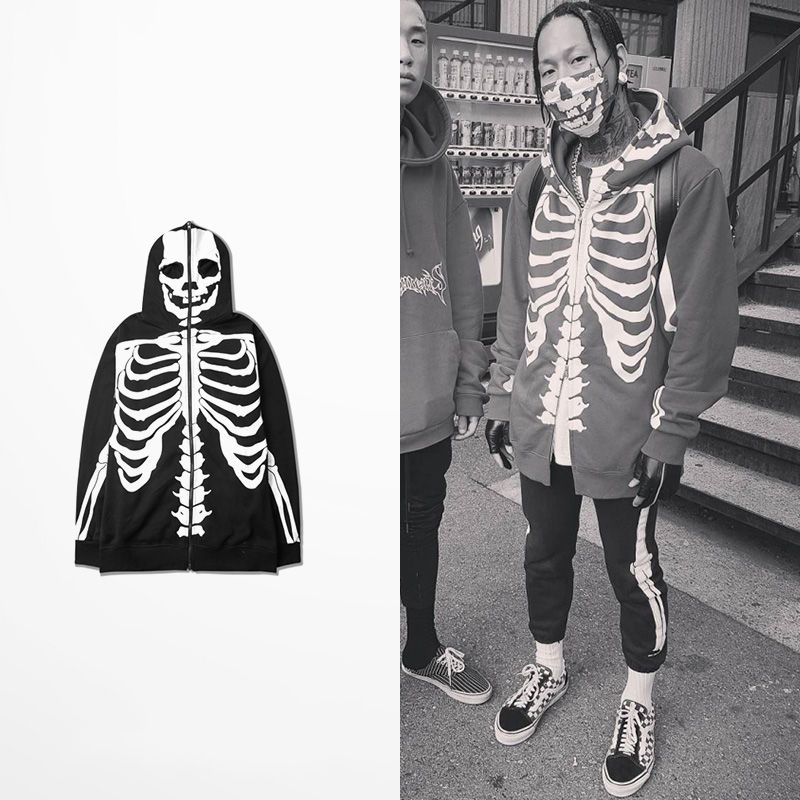 NEW Arrival Ulzzang Mens Skeleton Hoodies Skulls Skateboard Hoodies Zipper 100% Cotton Fleece Warm Winter Sweatershirt Streetwea