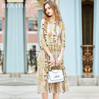 2017 New Party Embroidery Dresses Ruway Floral Bohemian Flare Flower Embroidered Vintage Boho Mesh Embroidery Dresses