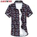 LONMMY Летом 2016 Новый М-6XL Клетчатую Рубашку мужчины Мерсеризированный хлопка Camisa cuadros Мужчины рубашки С Коротким рукавом рубашки мужчины тонкий fit