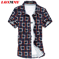 LONMMY Summer 2016 New M-6XL Plaid Shirt men Mercerized cotton Camisa cuadros Men dress shirts Short sleeve men shirt slim fit