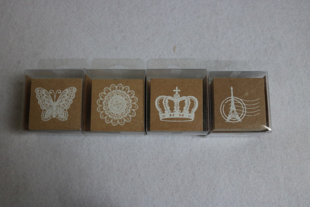 Nuevo 2018 Crown Tower Lace Butterfly Stamp Con Ink Pad Decoración - Artes, artesanía y costura
