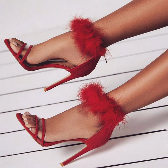 17de47972a6b0e New Arrival Designer Brand High Heel Sandals Young Girls Sweet Red Beige  Ankle Strap Fur Sandal Shoes Transparent PVC Strap Pump